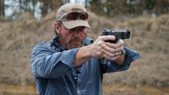Pat McNamara Carolina Arms Group Blaze Ops 1911 Pistol aim