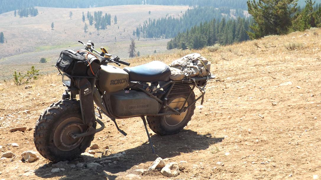 Rokon Motorcycle trail breaker outside