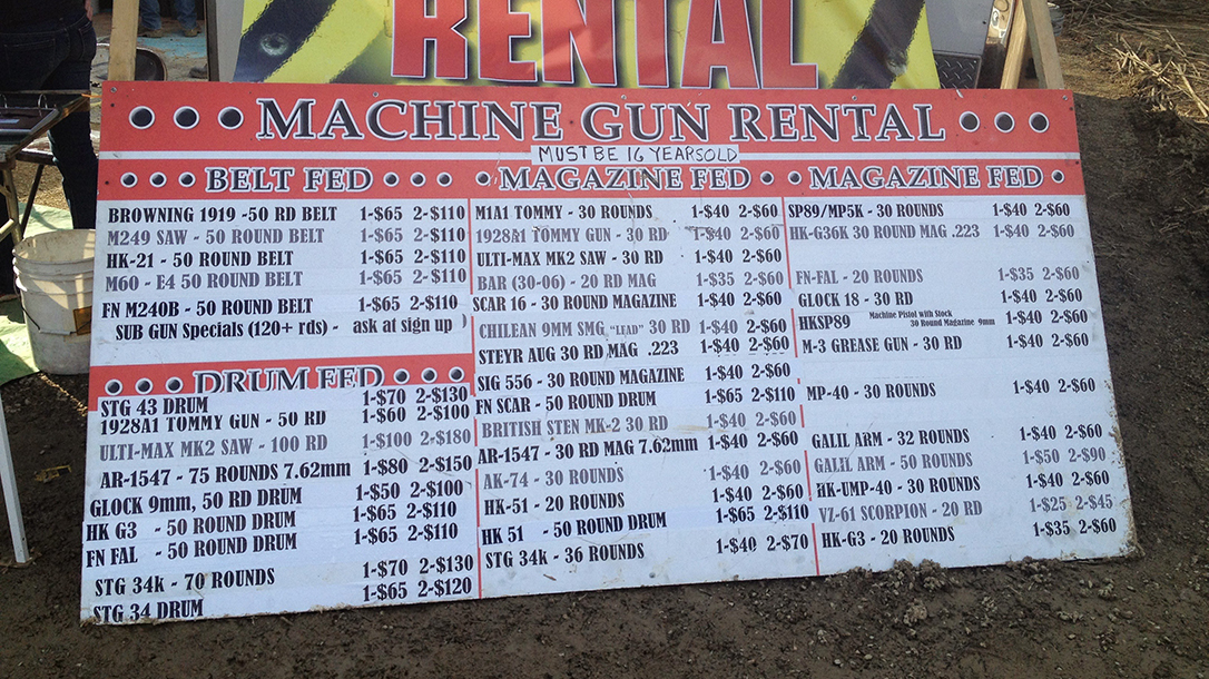 Knob Creek Machine Gun Shoot Kentucky menu