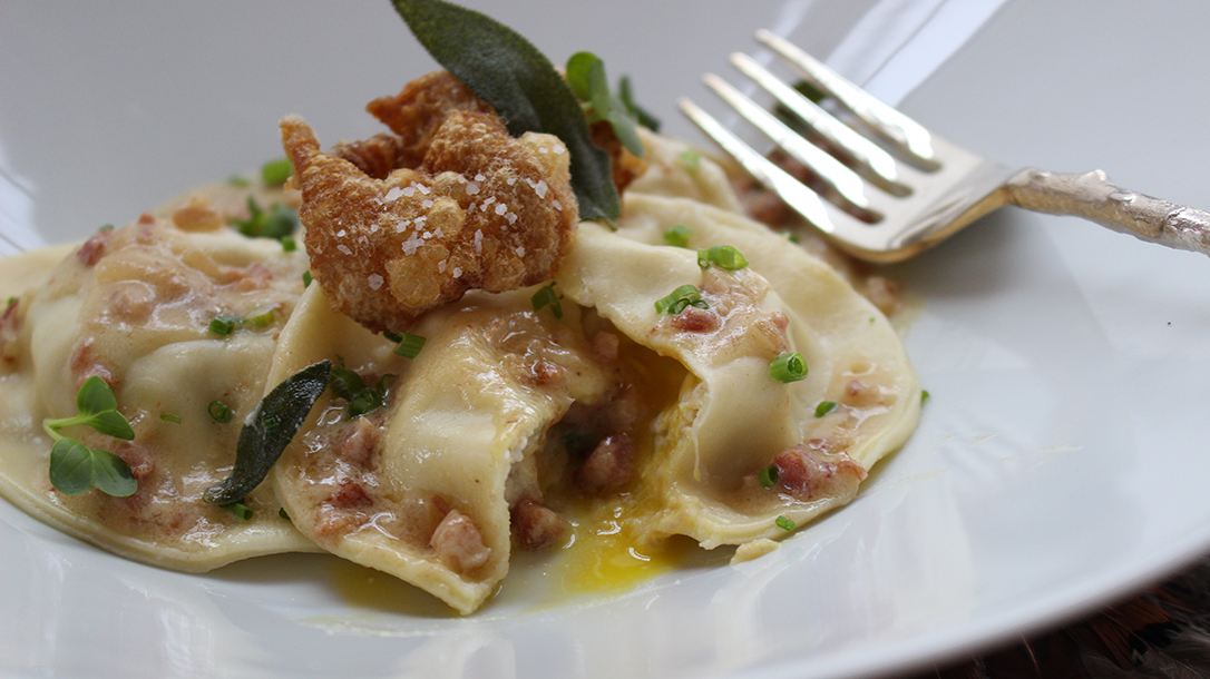 Quail Recipes Quail Ravioli with Chardonnay Pancetta Sauce and Crispy Quail Skin