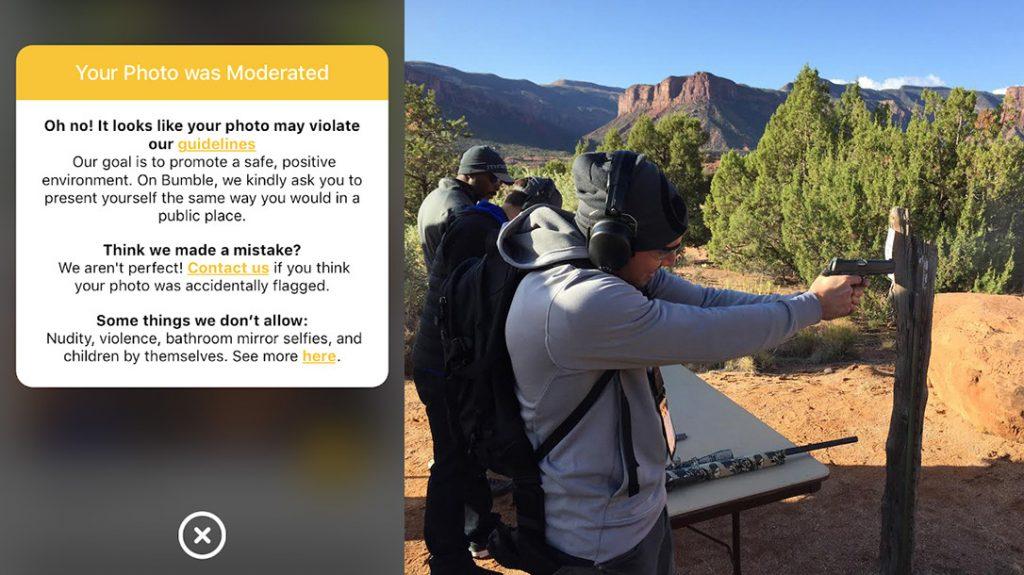 Bumble Gun Ban, dating app, photo removal