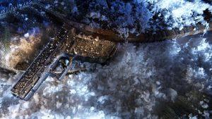 Glock 17 Pistol, Torture Test, snow