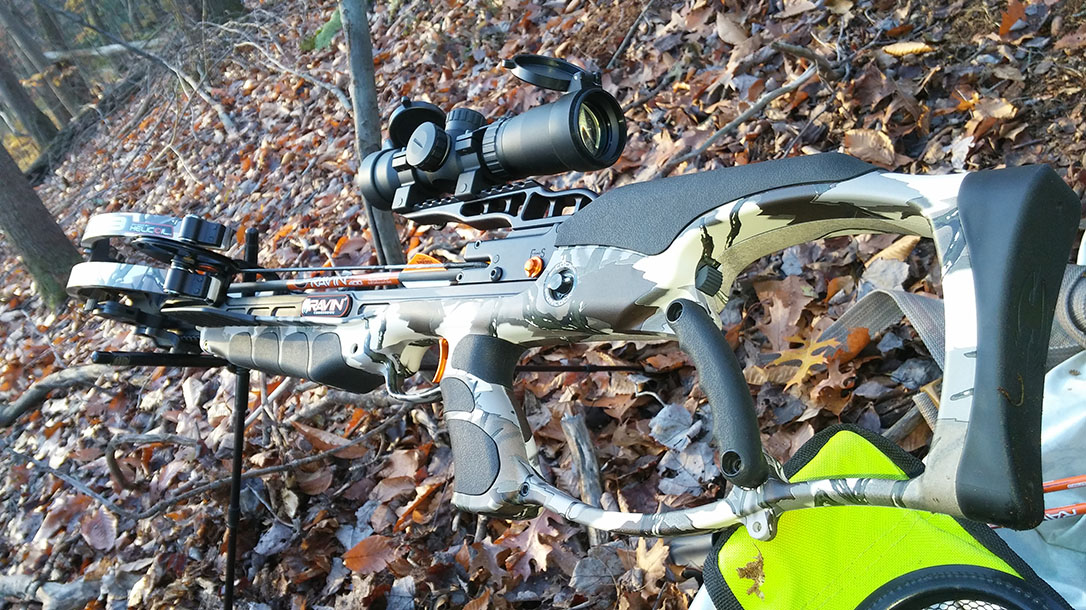 Ravin R9 Predator Camo Crossbow backyard
