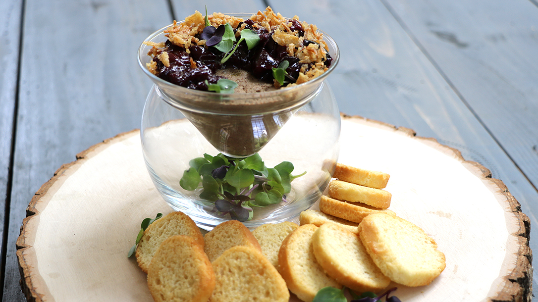 Venison Recipes, Deer Liver Pate with Spiced Cherry Compote & Crispy Fried Onions