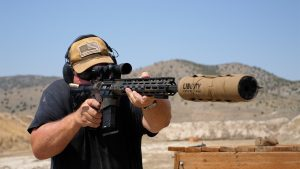 Wilson Combat 458 HAM'R Tactical Hunter rifle, suppressor