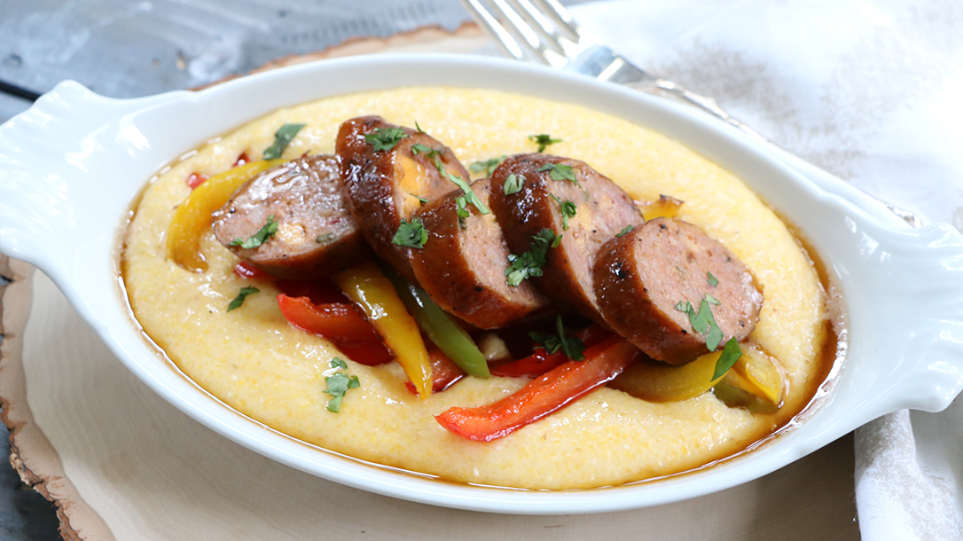 Smoking Wild Game recipes, Bri Van Scotter, Smoked Wild Boar Jalapeño Cheddar Sausage and Grits