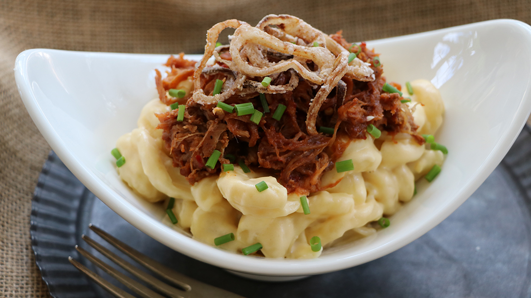Smoking Wild Game recipes, Bri Van Scotter, Smoked Pulled Wild Boar on Mac and Cheese