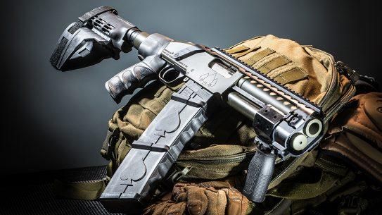 Black Aces Tactical DT Shotgun, 12-gauge shotgun, bag