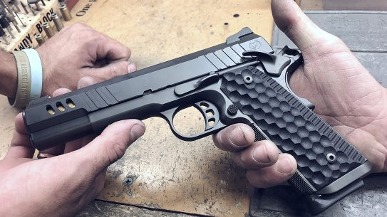 Nighthawk President Pistol, 9mm pistol, hands on