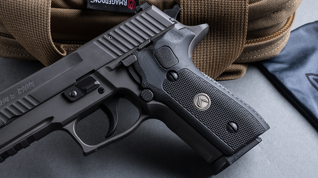 SIG P229 Legion Pistol, SRD9 Suppressor, pistol review, grip