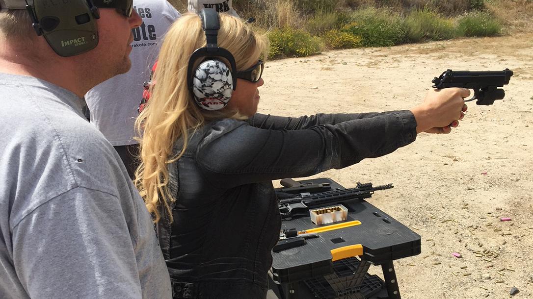 Donna D'Errico guns, handgun