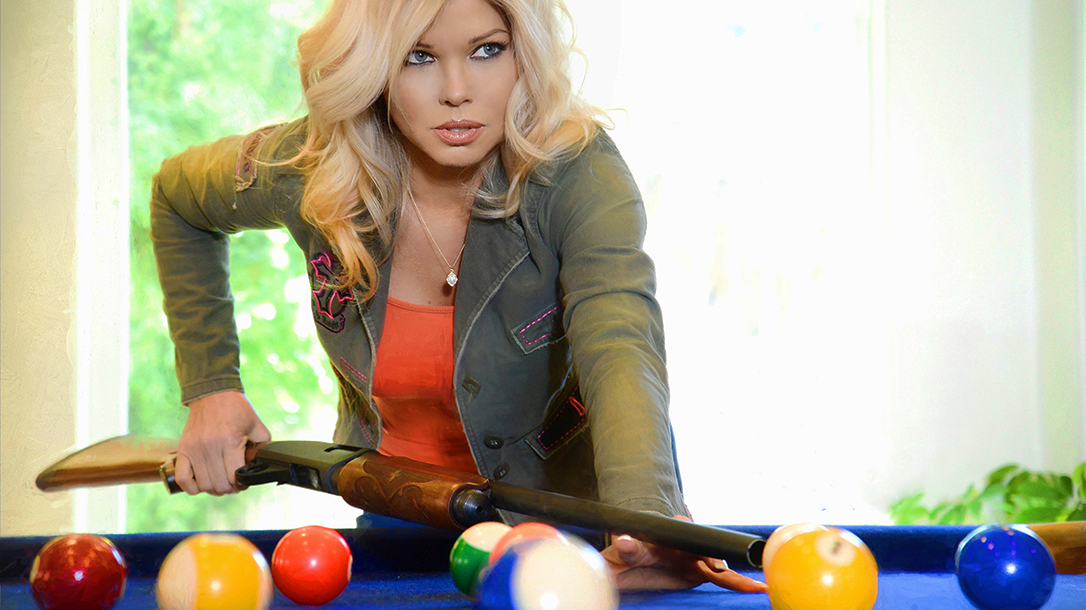 Donna D'Errico guns, pool