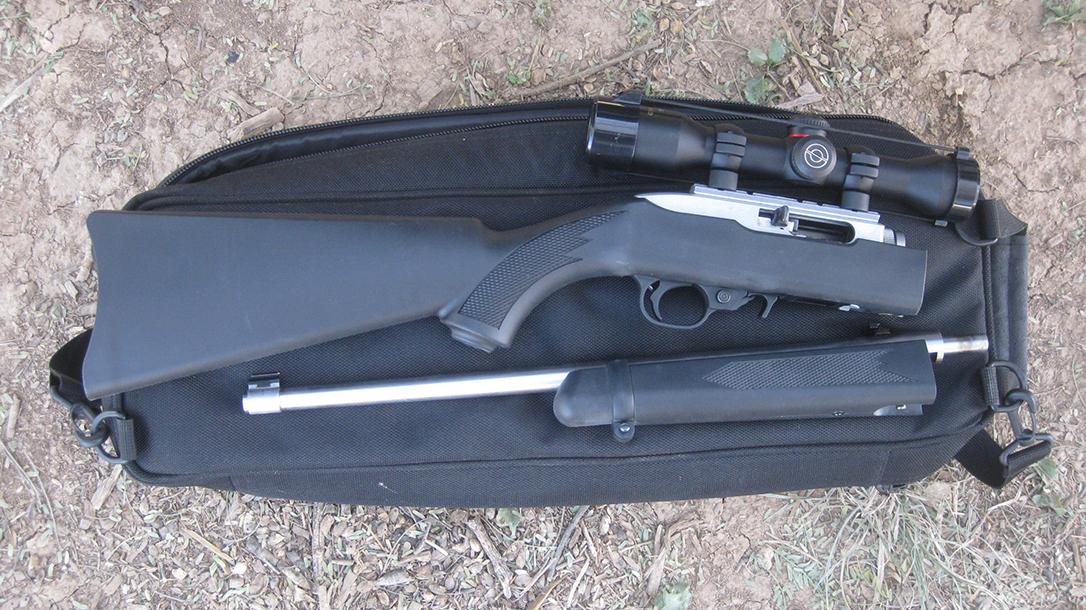 backpack, Ruger 10-22, open