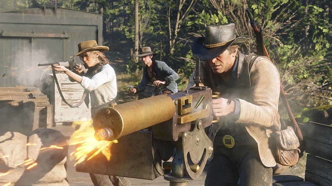 Red Dead Redemption 2 guns, machine gun