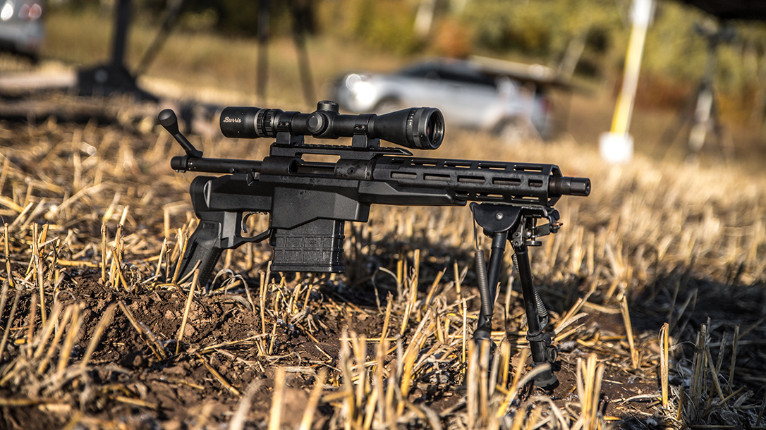 braced chassis pistol, scope, standard