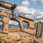 Folding stock, precision rifle build, mountains, left