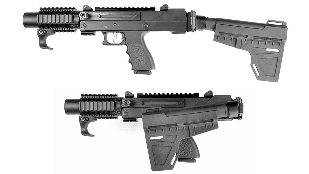MasterPiece Arms MPA35DMG 9mm pistol, folding arm brace, lead