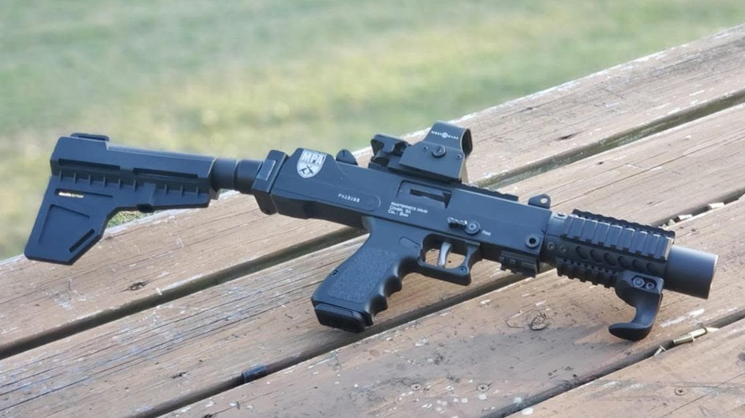 MasterPiece Arms 9mm AR Pistol, folding arm brace, table