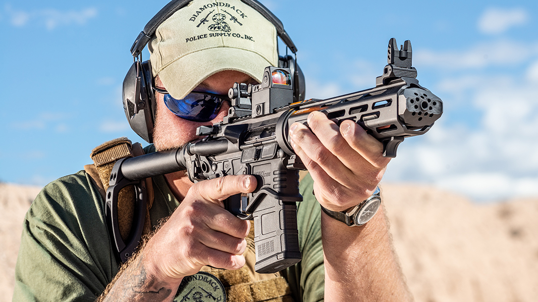 Armory SAINT EDGE Takedown AR Pistol Review, aiming, muzzle device