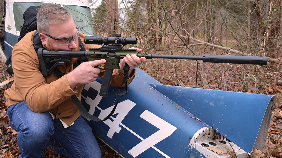 TNW Aero Survival Rifle, pistol caliber carbine, shooting