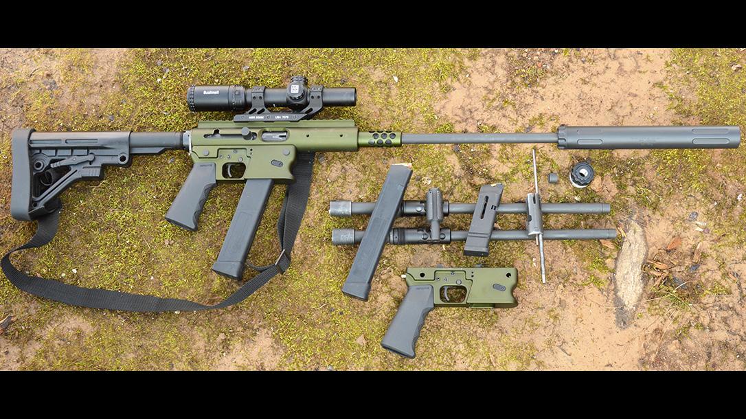 TNW Aero Survival Rifle, pistol caliber carbine, apart