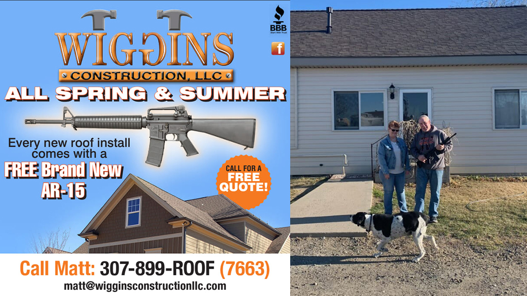 Wiggins Construction AR-15 giveaway new roof, Wyoming