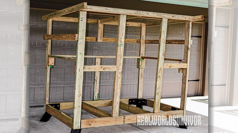 The assembled frame just before being disassembled for movement to the permanent site.