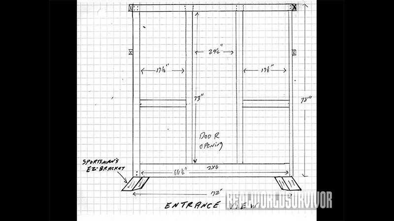 Entrance view blueprint of the buck tower.