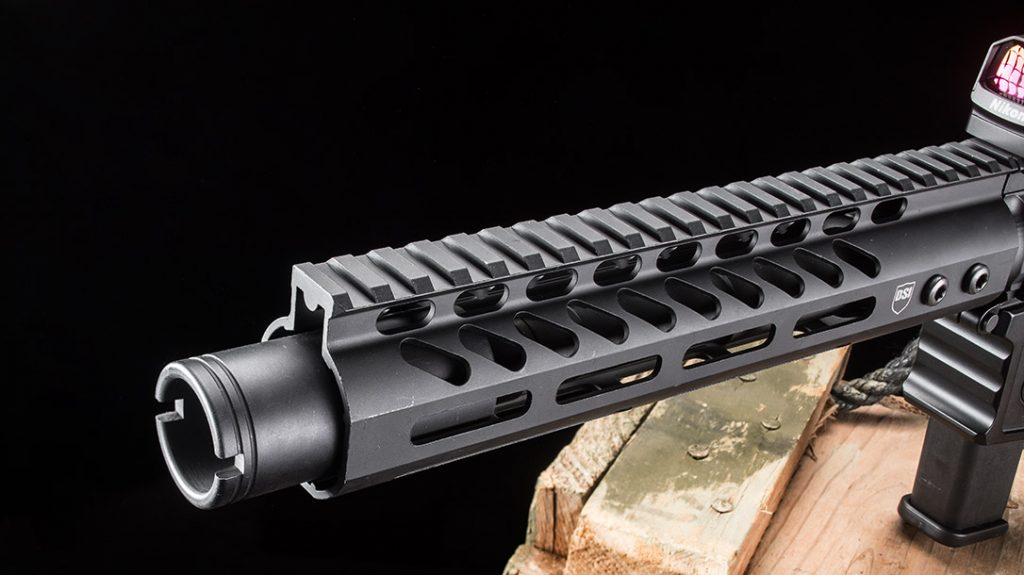 The nitrite-treated, 7.5-inch barrel with a 1-in-10-inch twist rate is surrounded by the low-profile M-LOK handguard.