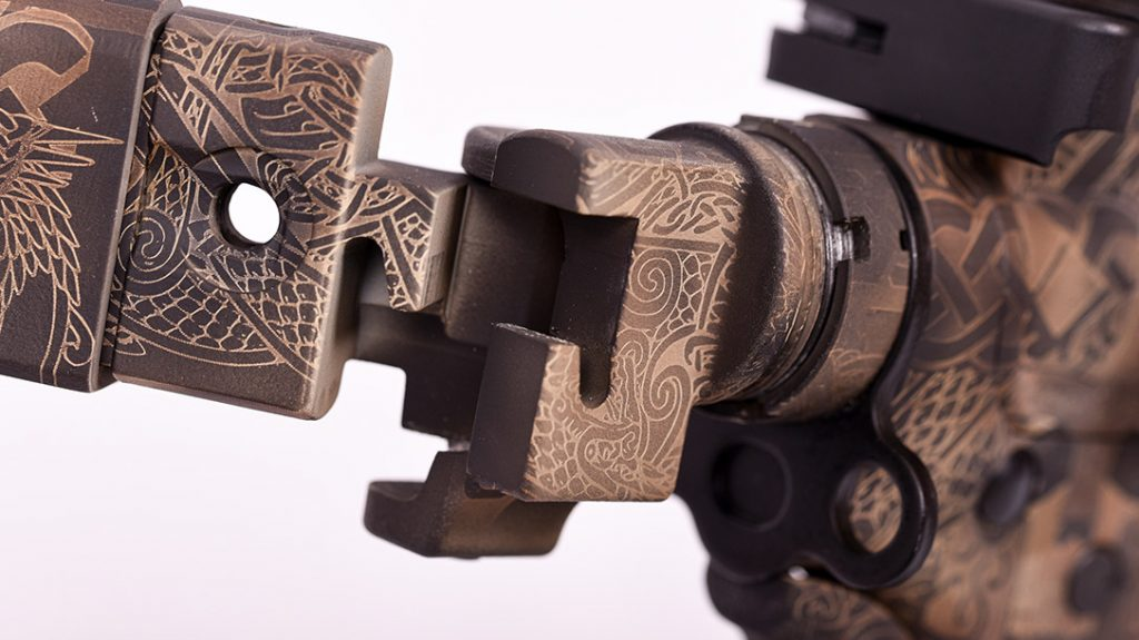 The adjustable folding stock from Para Ordnance adds a special touch. It, too, got the full treatment from Odin's Workshop.