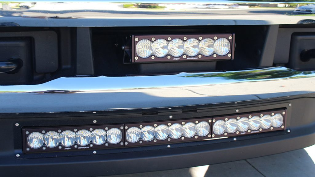 The two LED light bars provide a combined total of 29,400 lumens to the front of the author's Ford F-250.