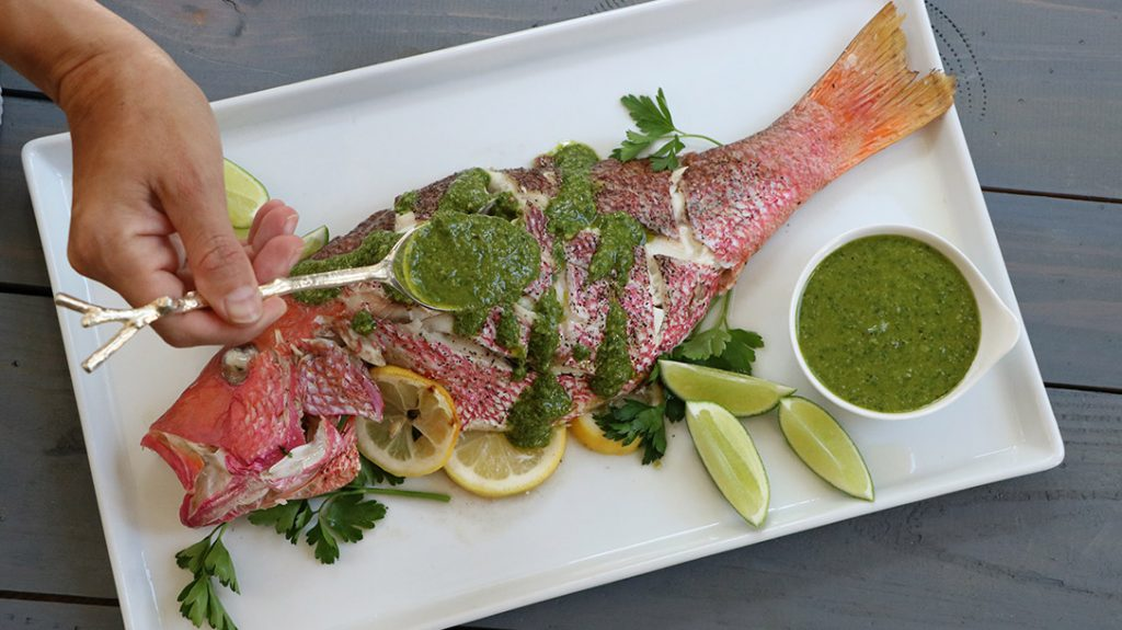 Finally, add the pesto to your Snapper, to round out your wild game cookout.