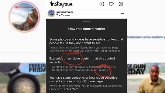 New Instagram policy lumps firearms with drug use.