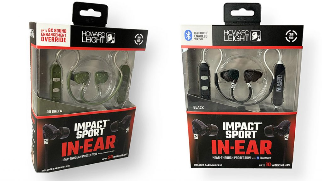 The Howard Leight Impact Sport In-Ear Hear-Through Proection with Amplification and the Howard Leight Impact Sport In-Ear Hear-Through Protection with Bluetooth.