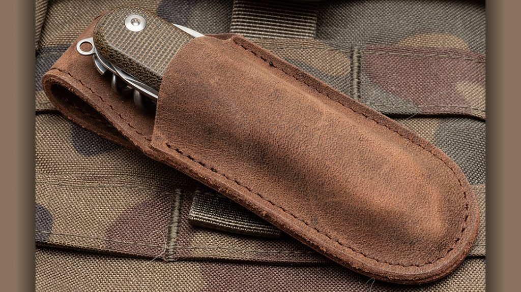 MKM Knives offers a supple leather pocket sheath that can be used to protect the Malga 6.