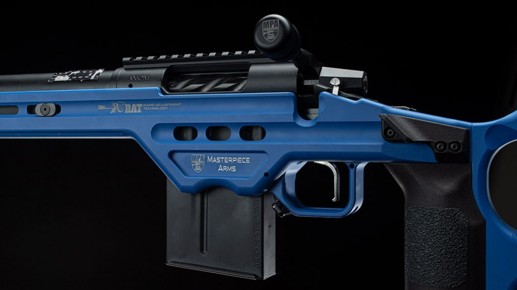 Masterpiece Arms Matrix rifle chassis has six grip options, three thumb rests and four trigger support options.