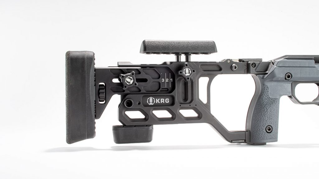 A toolless adjustable buttstock makes the KRG Whiskey 3 popular.