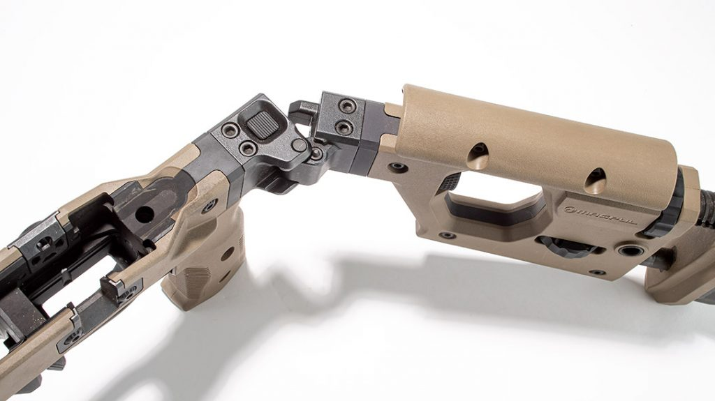The Magpul Pro 700 includes a foldup butt stock for transport.