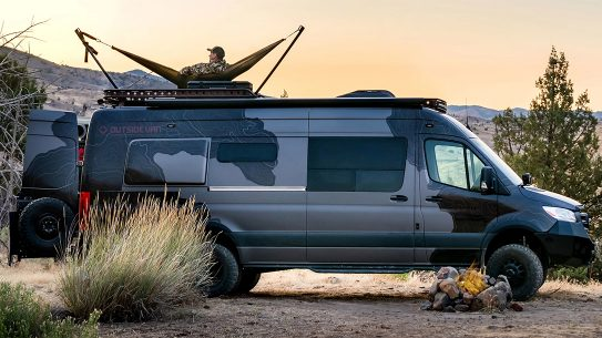The Launch Pad from Outside Van is the ultimate in hunting camp comfort or overlanding adventure.