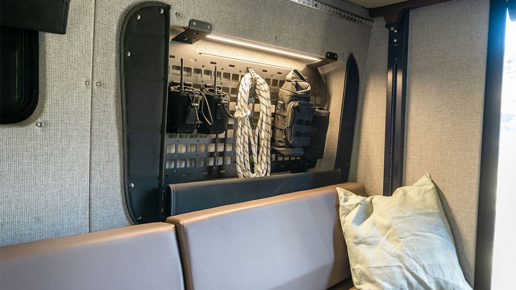 The Outside Van Launch Pad includes steel cross hatch panels for extra gear storage.