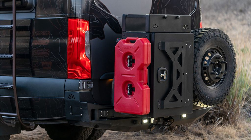 The Backwoods Rear Swingout Bumper holds extra gear, a spare tire and gas can.