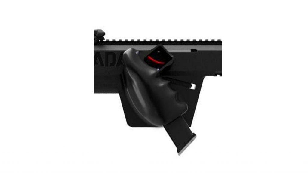 The AGADA has a very unique pistol grip.