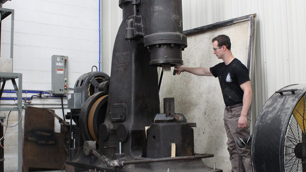 Much of the shop machinery at Hoffman Blacksmithing is circa-WWII and earlier.