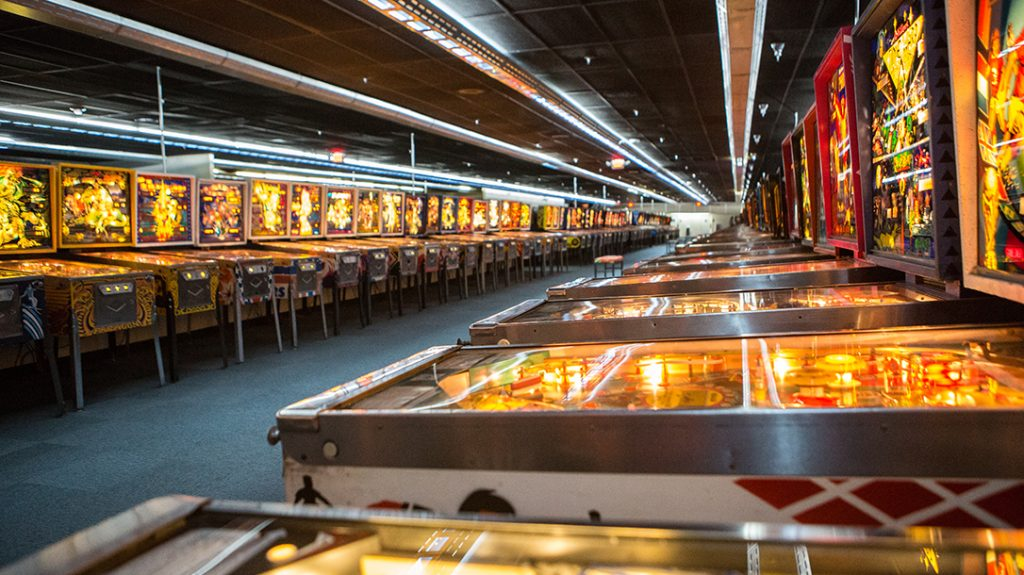 Museum of Pinball, rows of games, pinball machine collection