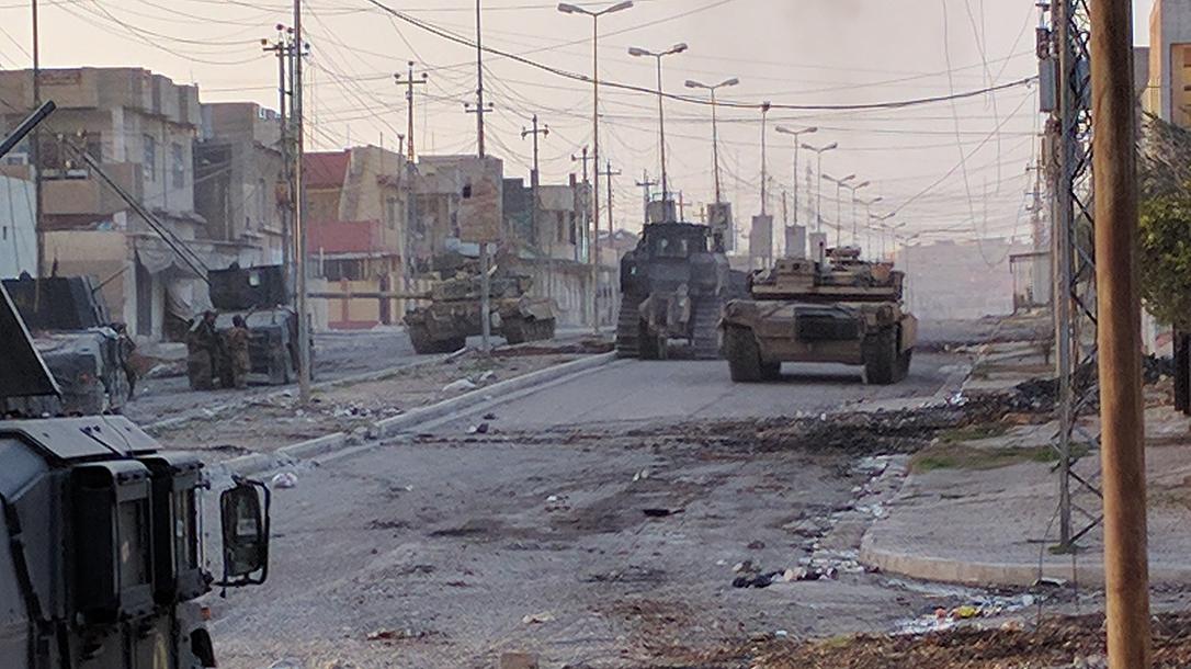 An armored bulldozer in Mosul.
