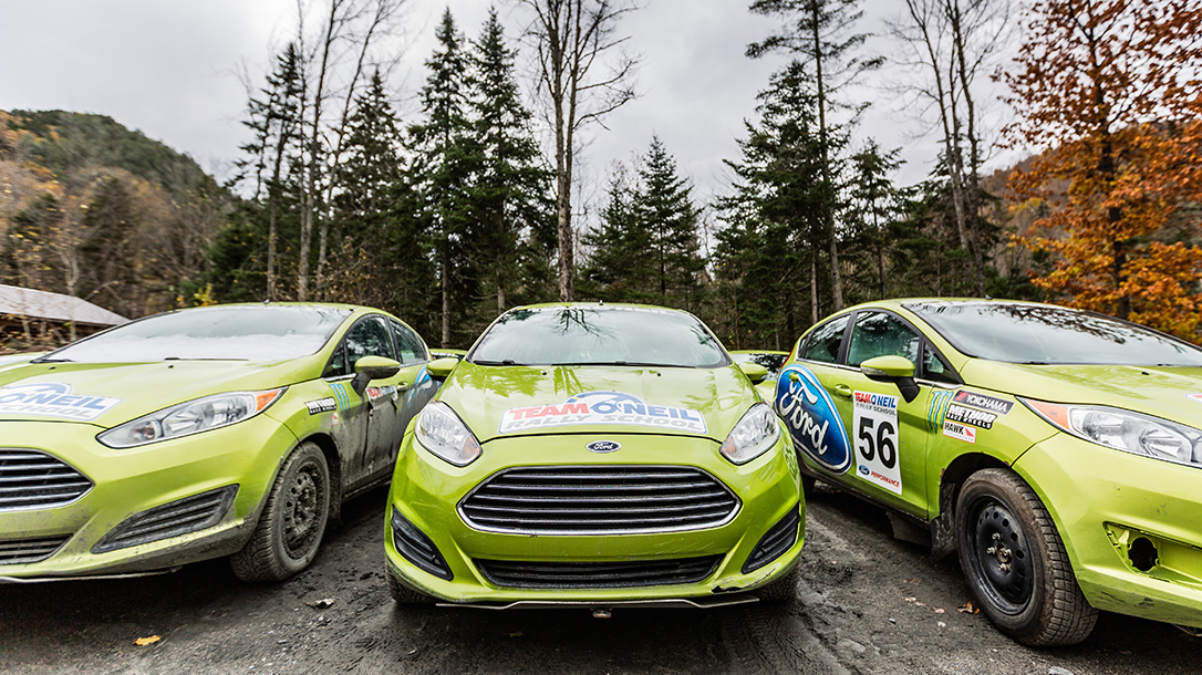 Vehicles at the Team O'Neil Rally School in New Hampshire.