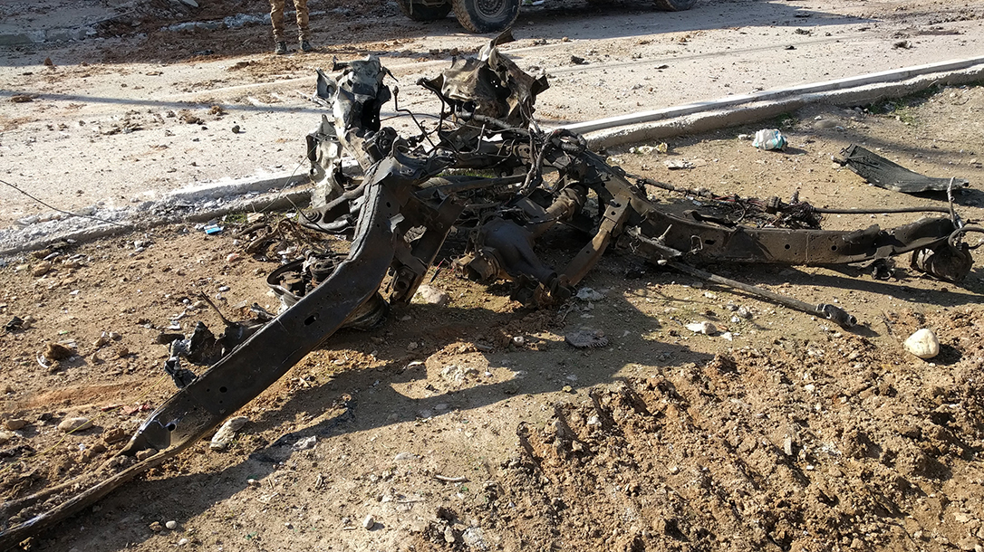 Steering column from car bomb.
