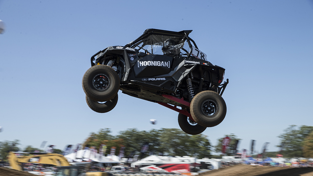 Sara in a race while part of team Hoonigan.