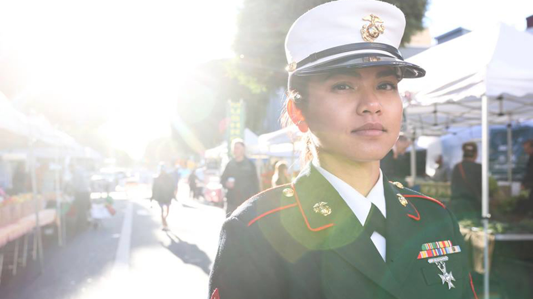 Leaphy Khim in Marine Corps dress blues.