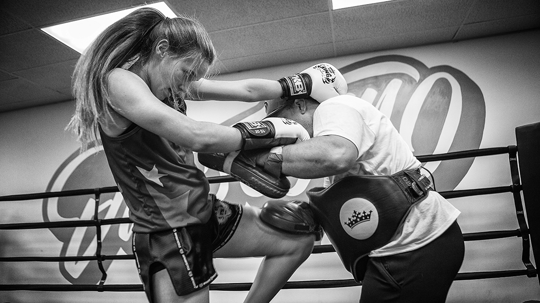 May Thai champion Tierra Brandt training.